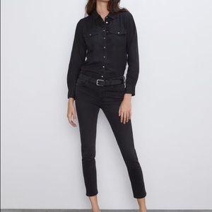Zara Premium Denim Skinny Cropped Jeans